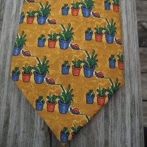 Givenchy Accessories - Givenchy Luxury Gold Cactus Succulent Silk Tie